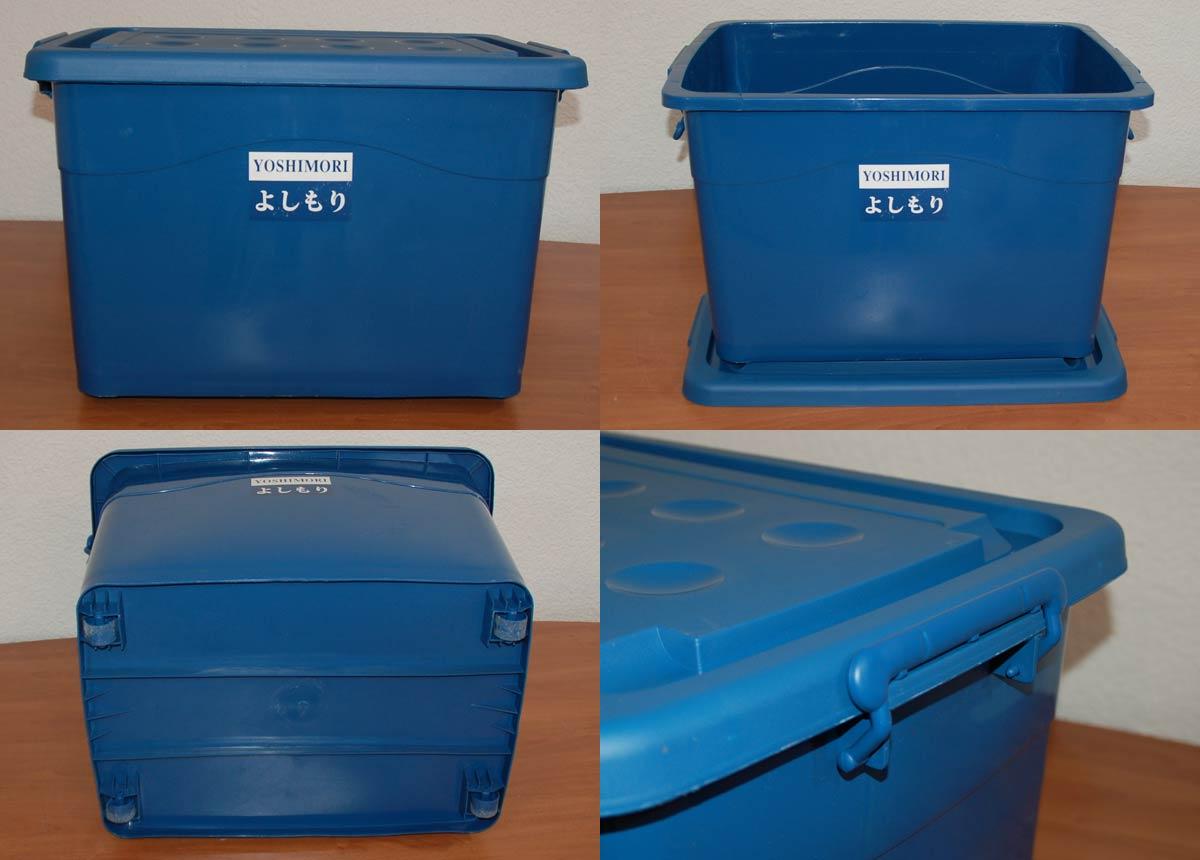 4x kunststoffbox mit deckel blau 60l allzweckbox rollcontainer 22216 4. Black Bedroom Furniture Sets. Home Design Ideas