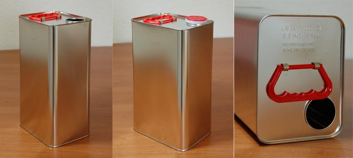 kanister 5 liter eckig metallkanister blechkanister wei blech 23006. Black Bedroom Furniture Sets. Home Design Ideas