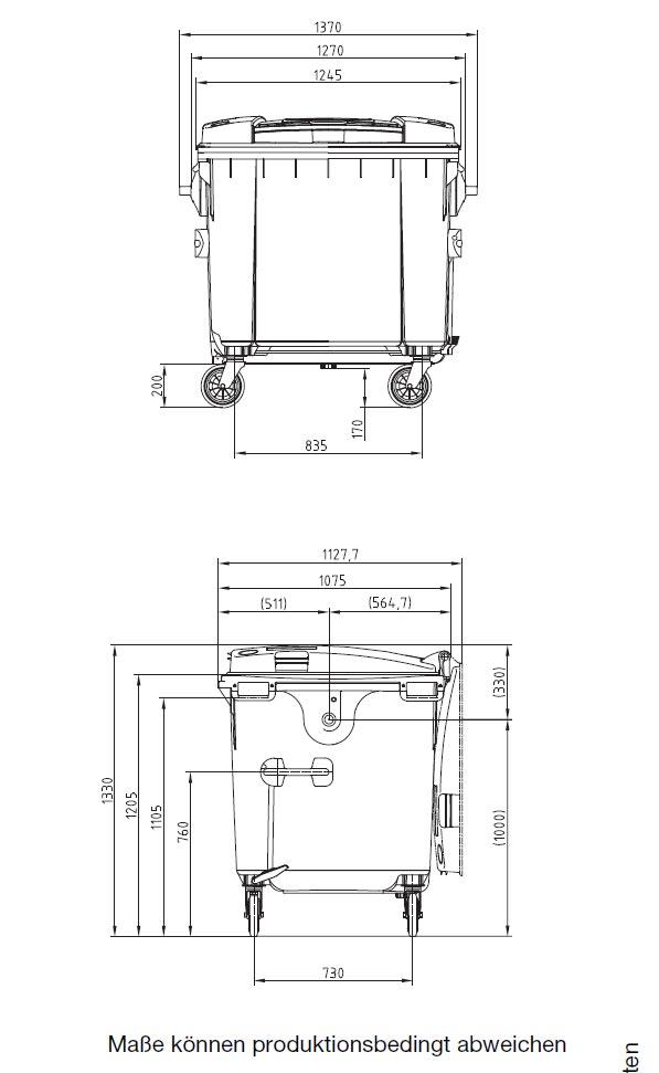 sulo m llcontainer 660 und 1100 liter m llgro beh lter. Black Bedroom Furniture Sets. Home Design Ideas