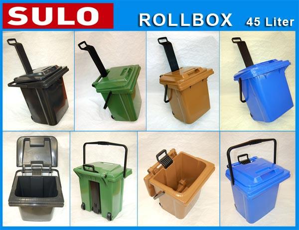 Rollbox kunststoff  3 Stück SULO Rollbox 45 Liter, Mülleimer, Aufbewahrung, Blau ...