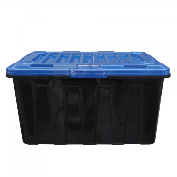 Rollenbox 100 Liter grau mit Deckel blau
