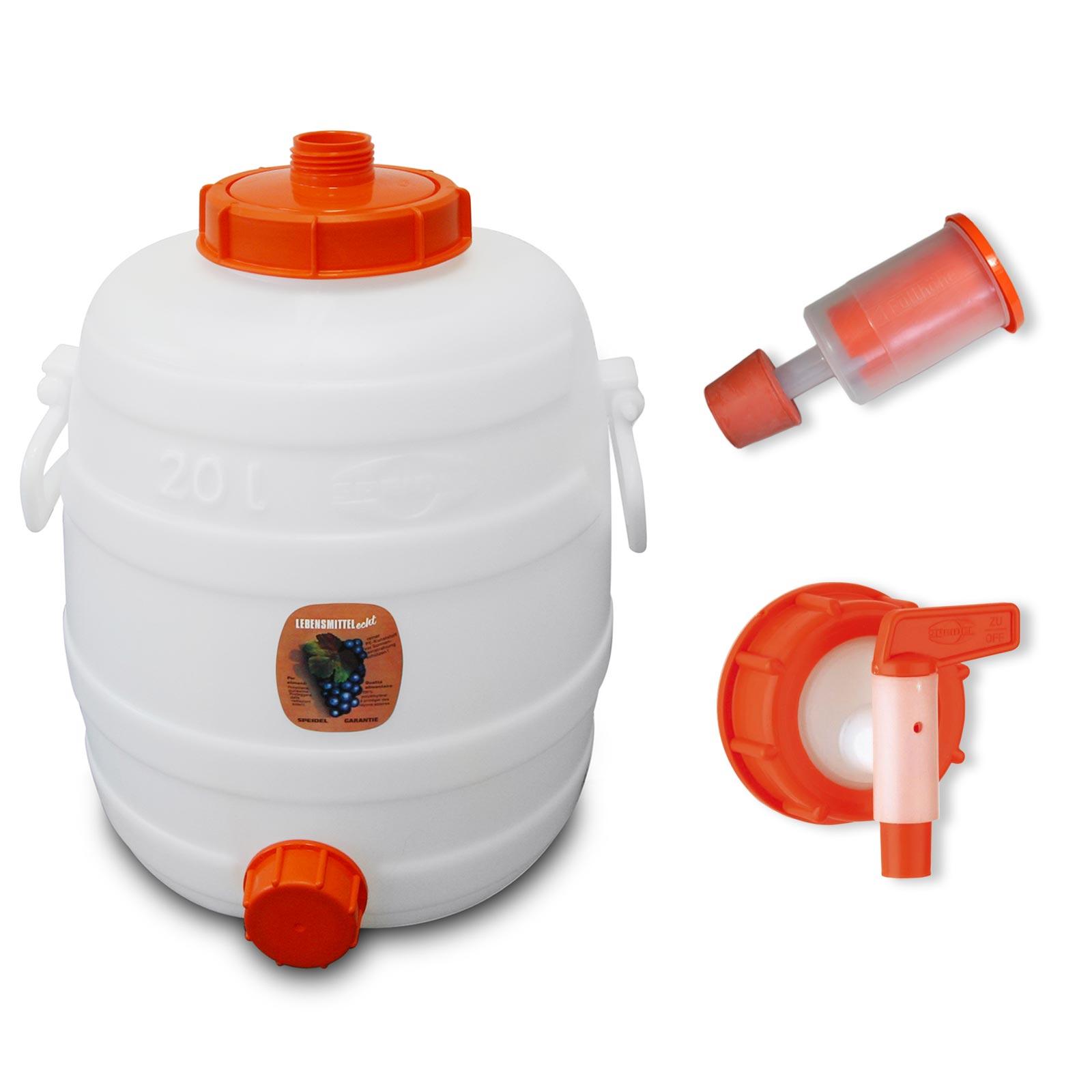 Speidel Mostfass Plastikbehälter 60 L Gärspund Auslaufhahn  NW15  Verschlußkappe