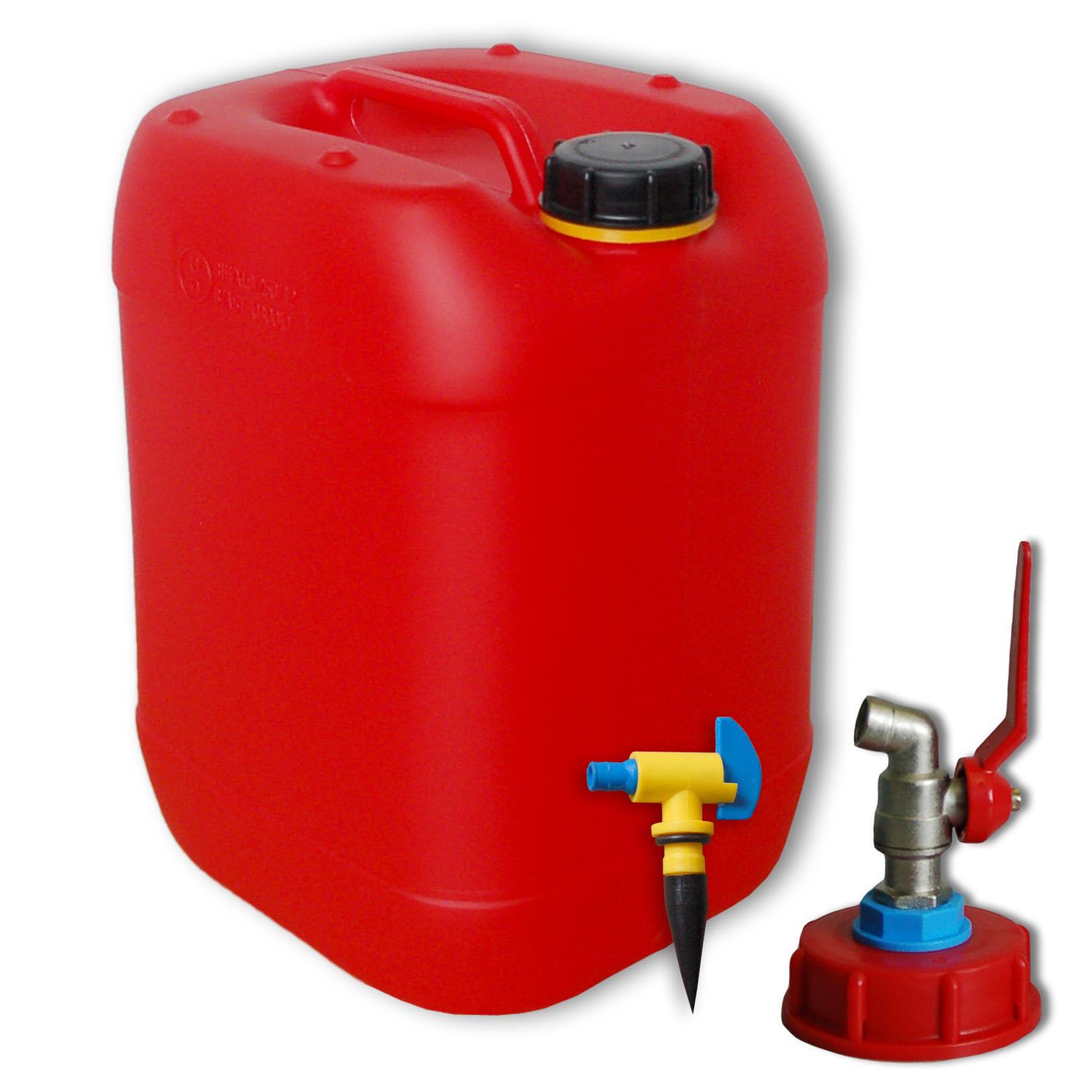 20 liter kanister rot mit metallhahn din 61 und entl ftung. Black Bedroom Furniture Sets. Home Design Ideas