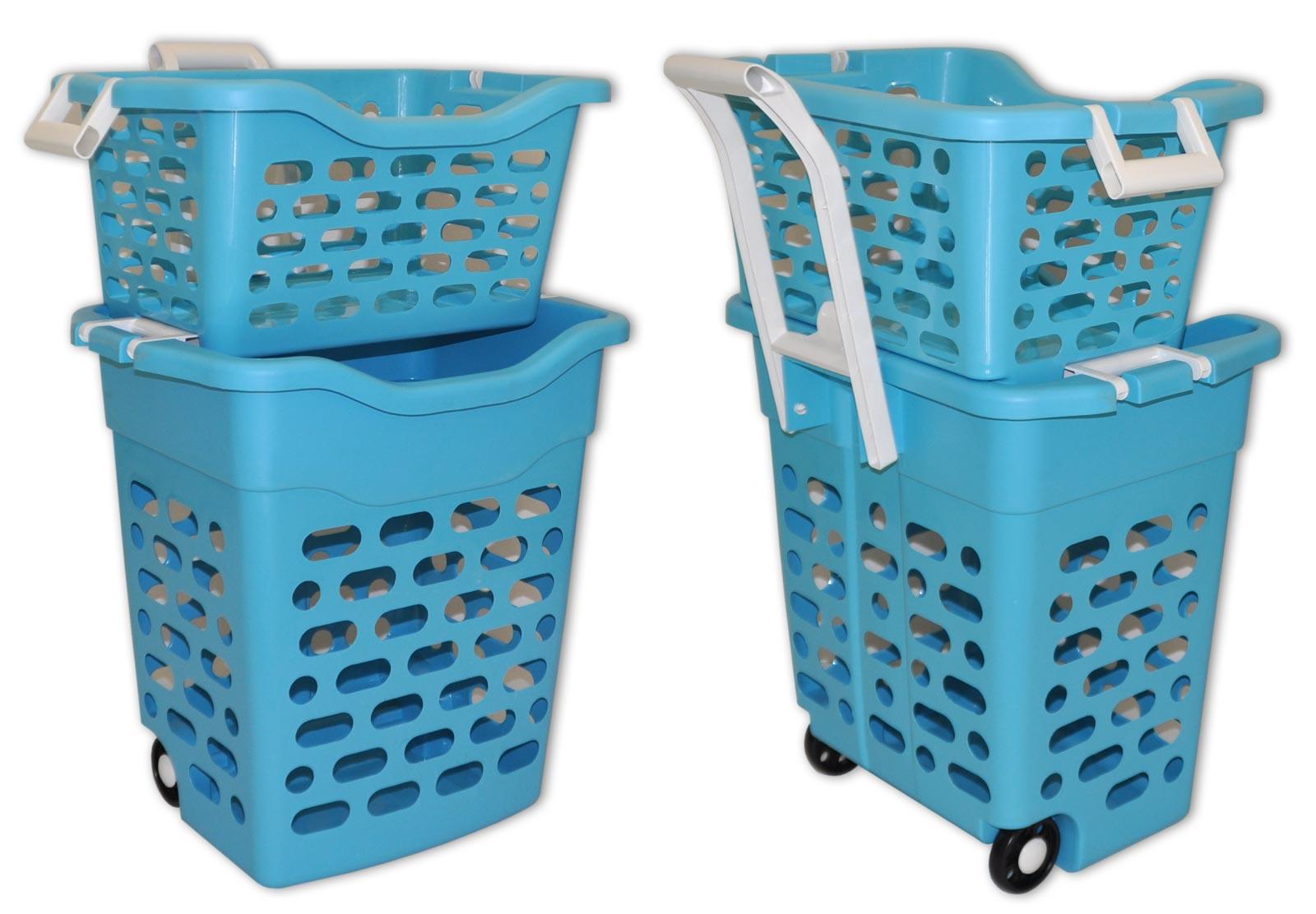 panier linge sur roulettes triple laundry wenko c 39 tendance panier a linge sur roulettes. Black Bedroom Furniture Sets. Home Design Ideas
