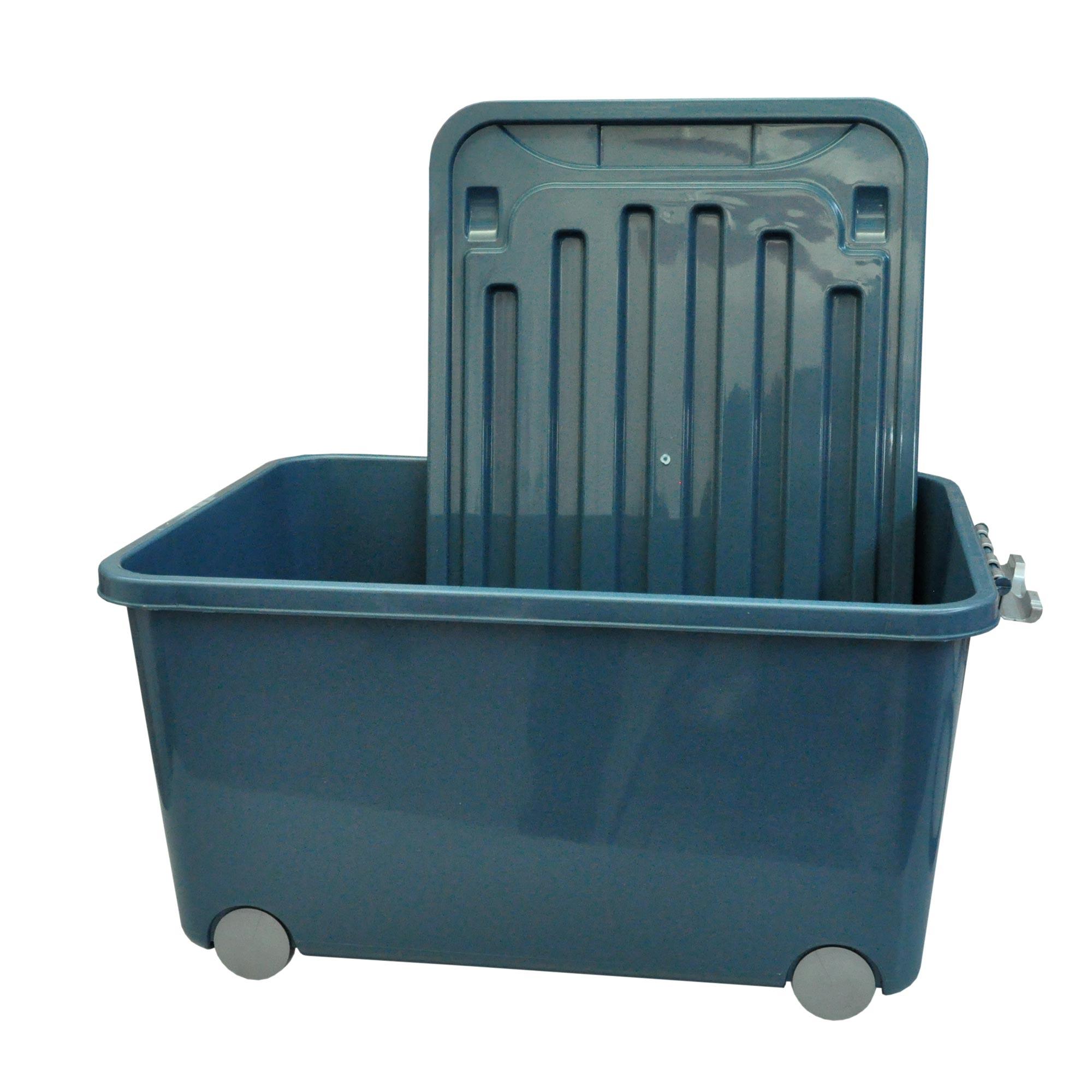Kunststoffbehälter mit Deckel 45 L blaugrau