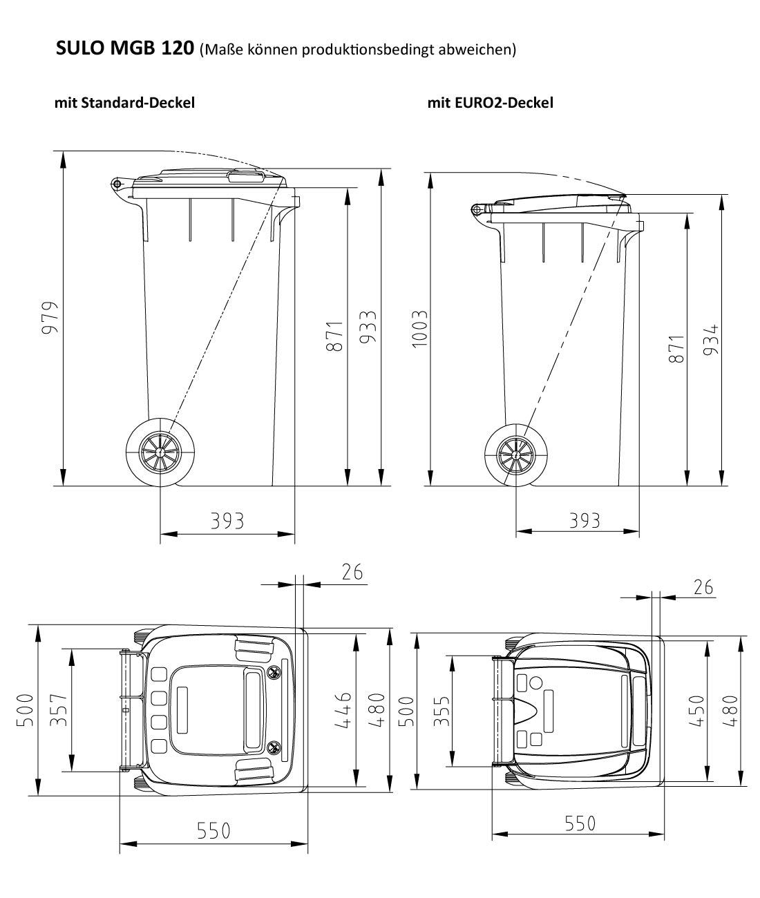 original graue sulo m lltonne mit farbigem deckel gr e 60 80 120 und 240 liter ebay. Black Bedroom Furniture Sets. Home Design Ideas