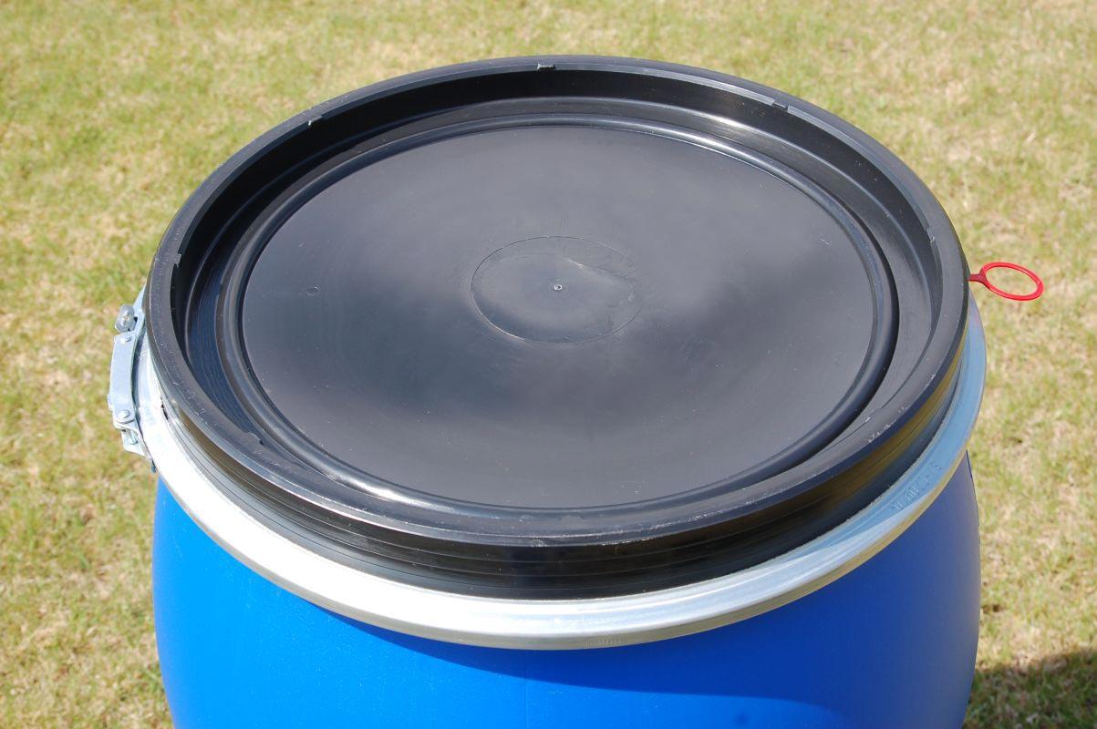 fass tonne 220 liter kunststoff blau deckel mit dichtung neu unbenutzt ebay. Black Bedroom Furniture Sets. Home Design Ideas