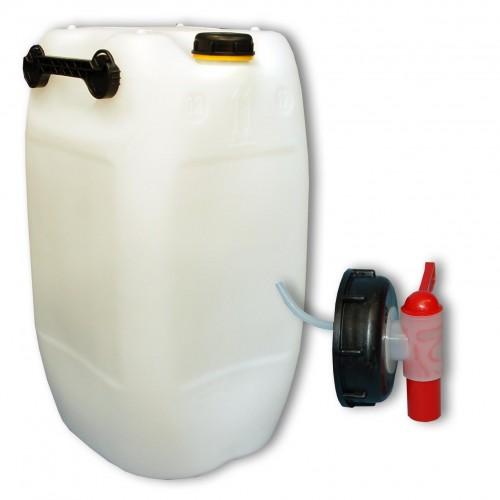 60 l kanister natur mit deckel aus plastik ein zapfhahn 22251 22045 ebay. Black Bedroom Furniture Sets. Home Design Ideas