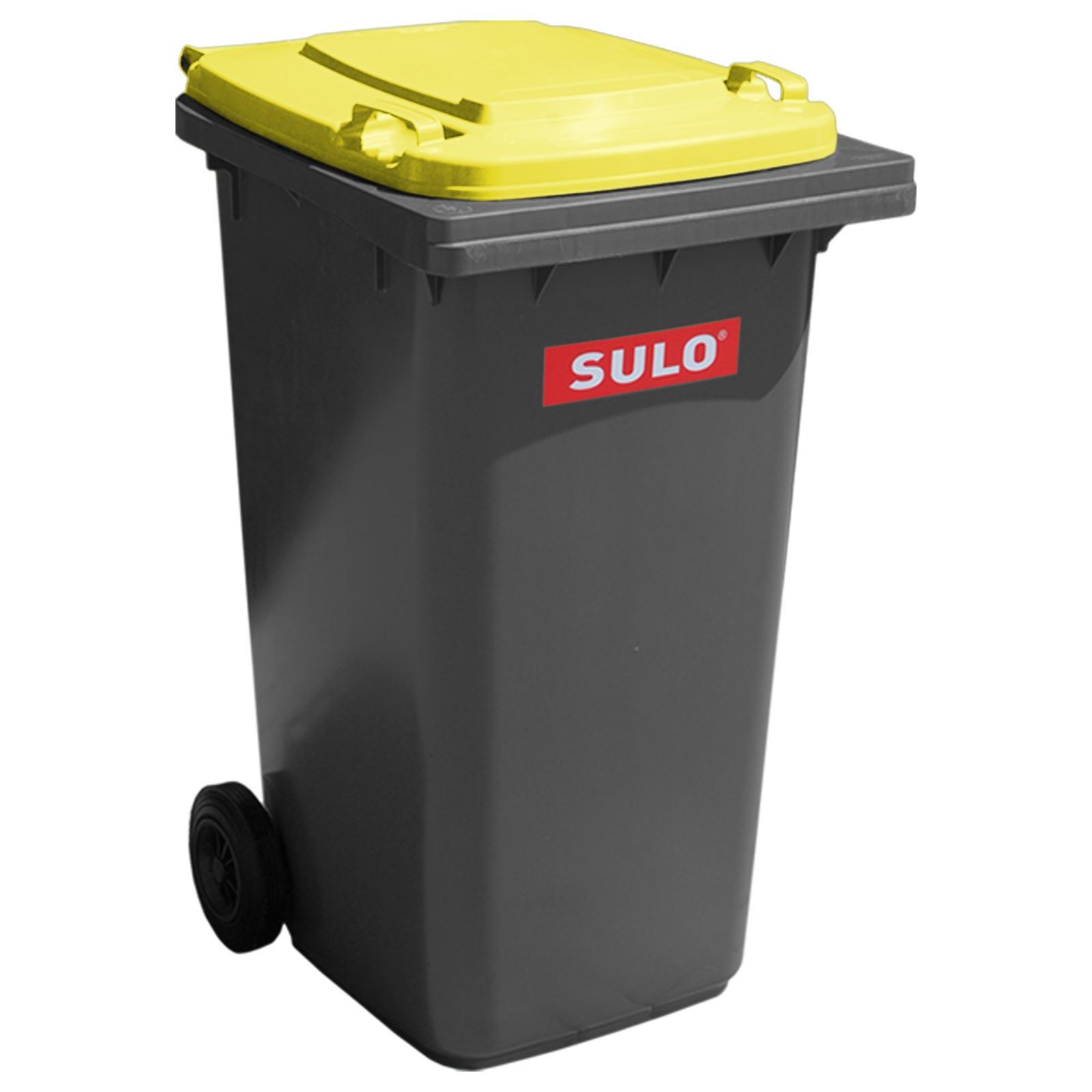 Original SULO 80 L Mülltonne grau gelber Deckel Abfalltonne Mülleimer