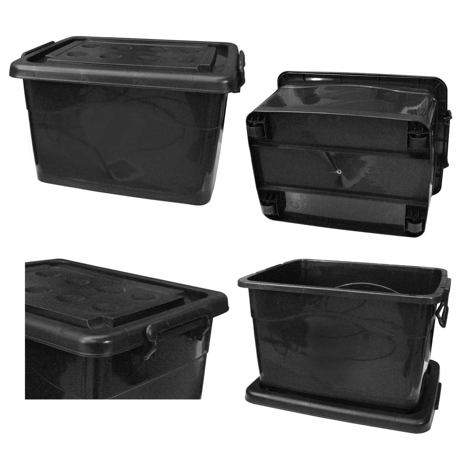 2 x kunststoffbeh lter stapelbar 90 liter schwarz mit rollen und deckel ebay. Black Bedroom Furniture Sets. Home Design Ideas