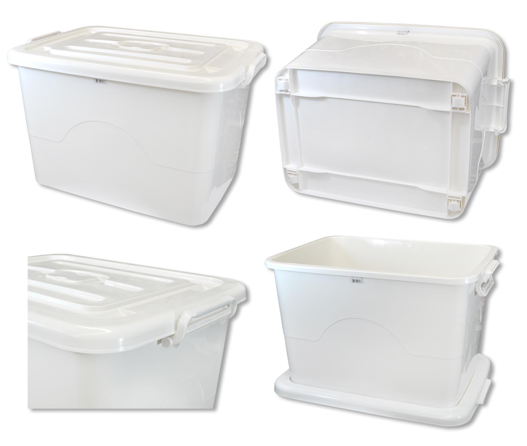 4 x plastikkiste box stapelbar 95 l wei allzweckbox rollcontainer ebay. Black Bedroom Furniture Sets. Home Design Ideas