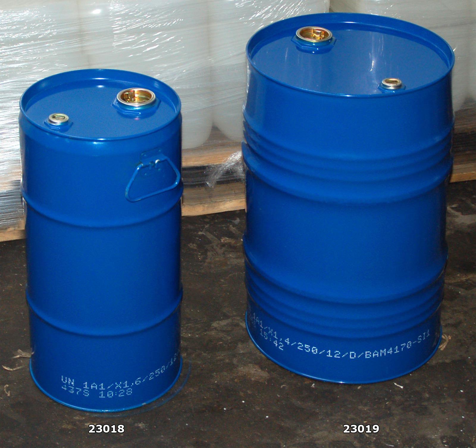 8 Ölfässer 60 L blau Blechfass Metall Hobbock Stahltonne