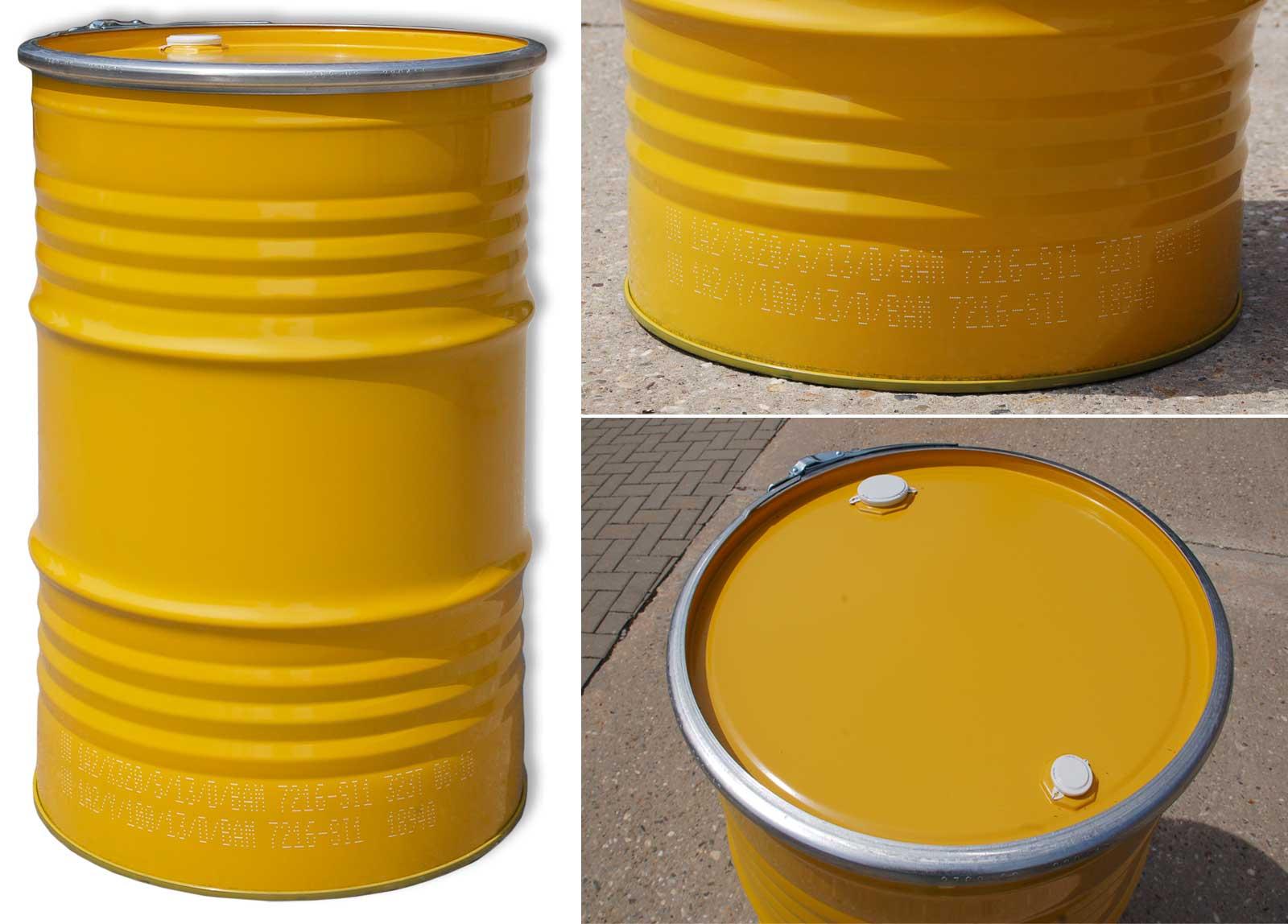 2 x deckelfass 213 liter gelb blech spundfass stahlfass lfass metall ebay. Black Bedroom Furniture Sets. Home Design Ideas