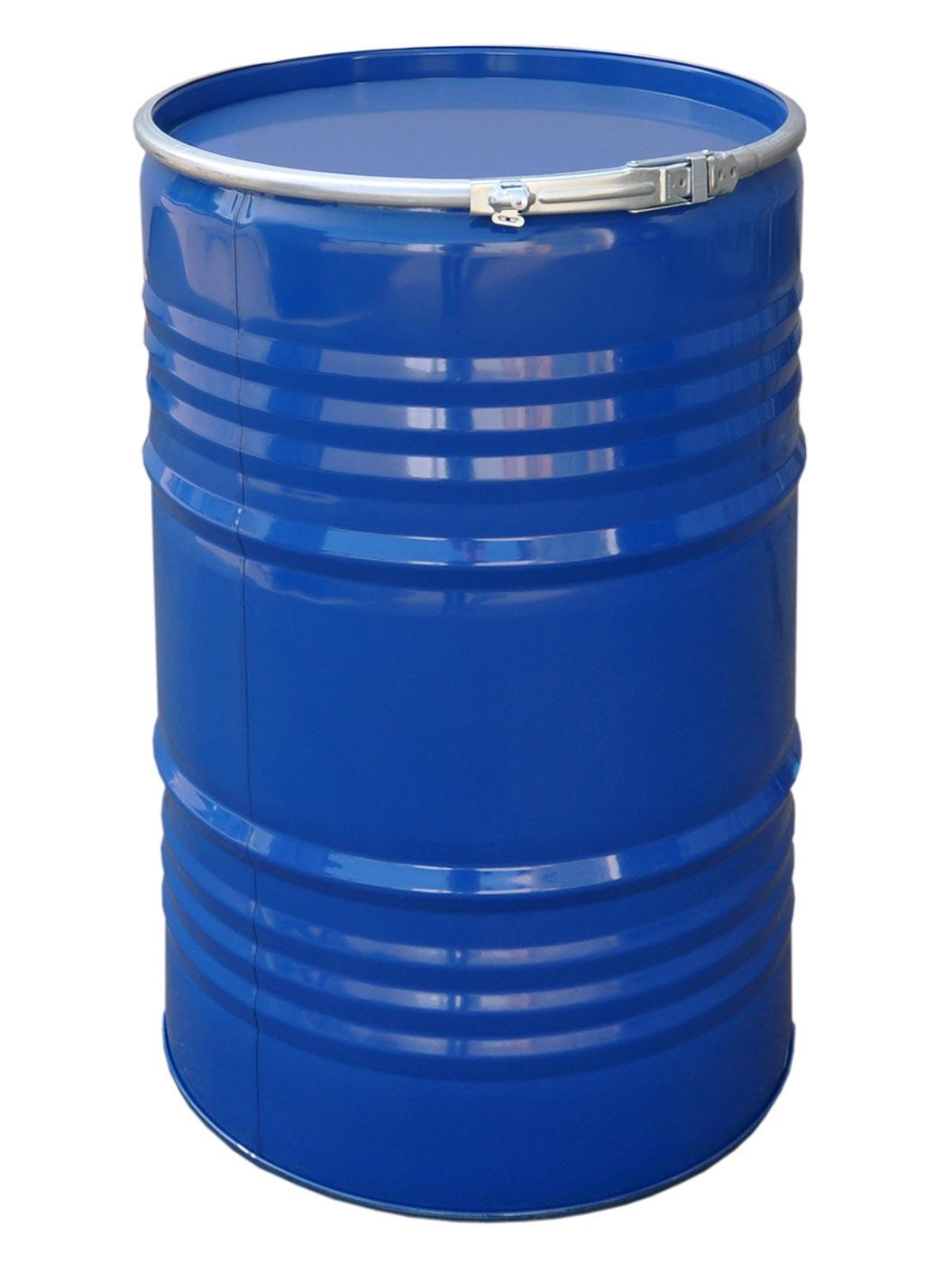 stahlfass 213 liter blau deckelfass feuertonne fass metallbeh lter neu 23031 ebay. Black Bedroom Furniture Sets. Home Design Ideas